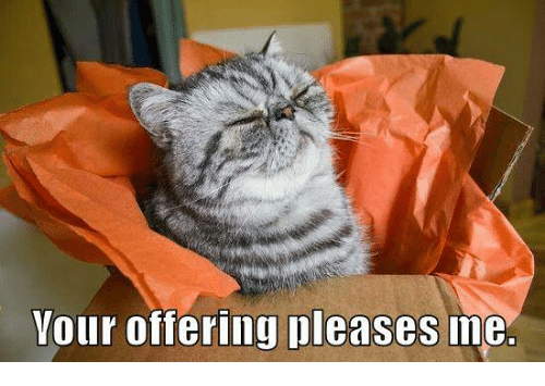 Pleases Me: Your offering pleases me.