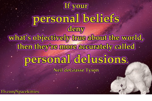 Delusion: your  personal beliefs  deny  what's objectively true about the world  then they re more accurately called  personal delusions  Neil deGrasse Tyson  Fb.com/Spacekitties