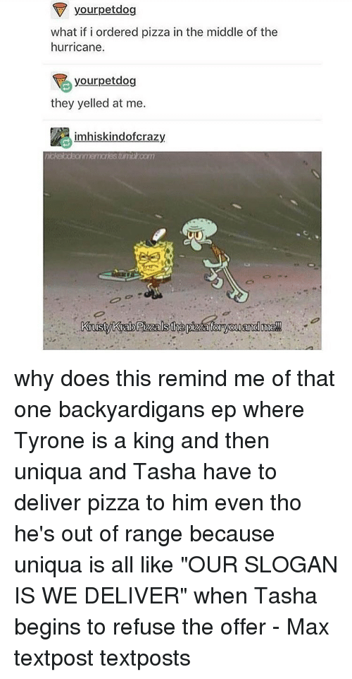 "Hurrican: your petdog  what if i ordered pizza in the middle of the  hurricane.  rpetdog  they yelled at me.  im hiskindofcrazy why does this remind me of that one backyardigans ep where Tyrone is a king and then uniqua and Tasha have to deliver pizza to him even tho he's out of range because uniqua is all like ""OUR SLOGAN IS WE DELIVER"" when Tasha begins to refuse the offer - Max textpost textposts"