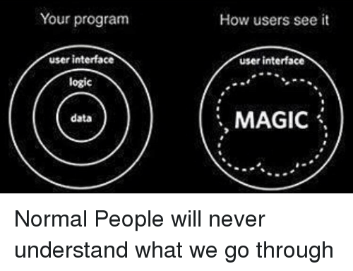 interface: Your program  How users see it  user interface  user interface  logic  MAGIC \  data Normal People will never understand what we go through