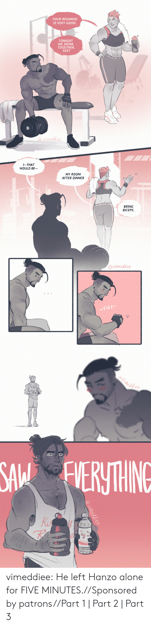 Being Alone, Tumblr, and Blog: YOUR REGIMEN!  IS VERY GOOD.  TONIGHT  WE DRINK  TOGETHER  YES?   I-THAT  WOULD BE  MY ROOM  AFTER DINNER  兀  BRING  BICEPS  @imedfrce   eddce  SA ERTHING  Ki  re vimeddiee:  He left Hanzo alone for FIVE MINUTES.//Sponsored by patrons//Part 1 | Part 2 | Part 3