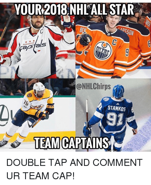 Team Cap: YOUR2018 NHL'ALL STAR  api als  @NHLChirps  STAMKOS  91  TEAMI CAPTAINS DOUBLE TAP AND COMMENT UR TEAM CAP!