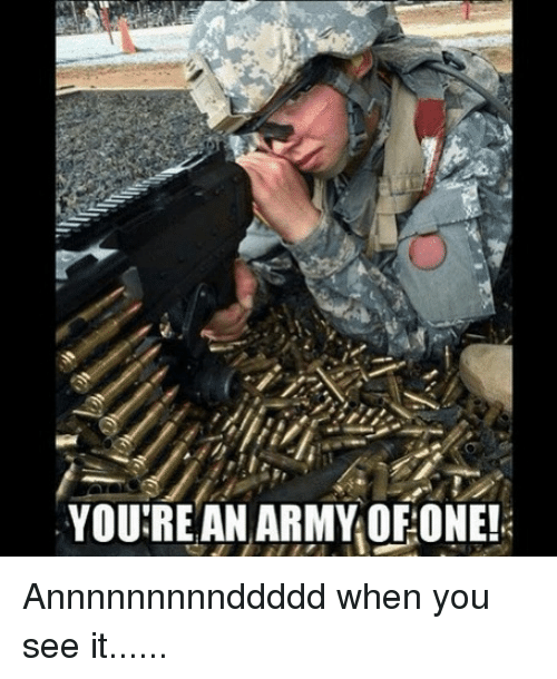 Memes, When You See It, and Army: YOU'RE AN ARMY OF:ONE! Annnnnnnnnddddd when you see it......