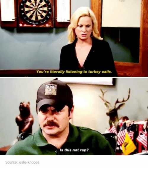 Leslie Knope: You're literally listening to turkey calls.  o Is this not rap?  Source: leslie-knopes