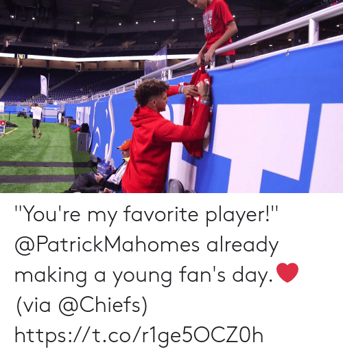 "Young: ""You're my favorite player!""   @PatrickMahomes already making a young fan's day.❤️  (via @Chiefs) https://t.co/r1ge5OCZ0h"