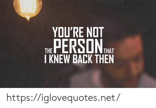 Back, Net, and Person: YOU'RE NOT  PERSON  THAT  THE  I KNEW BACK THEN https://iglovequotes.net/