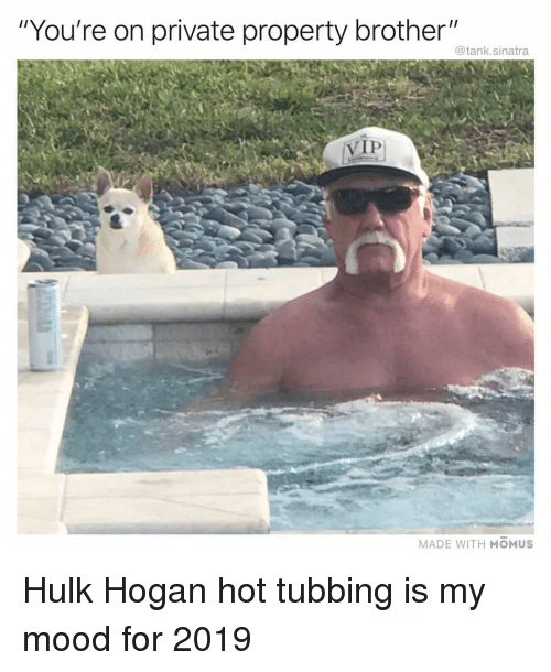 """Hulk Hogan: """"You're on private property brother""""  @tank.sinatra  VIP  MADE WITH MOMUS Hulk Hogan hot tubbing is my mood for 2019"""