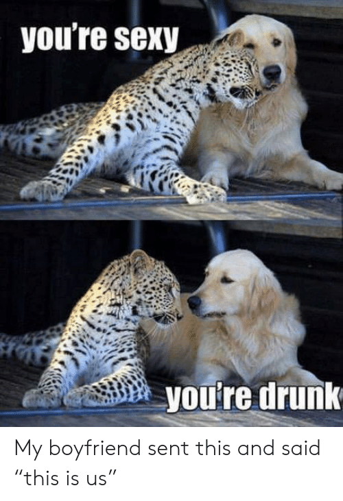"""Youre Sexy: you're sexy  you're drunk My boyfriend sent this and said """"this is us"""""""