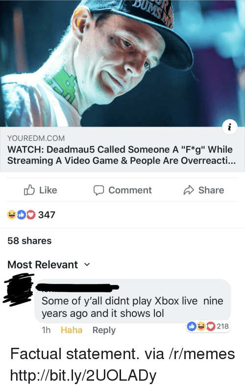 """xbox live: YOUREDM.COM  WATCH: Deadmau5 Called Someone A """"F*g"""" While  Streaming A Video Game & People Are Overreacti...  cb Like  40 347  58 shares  Most Relevant  comment  Share  Some of y'all didnt play Xbox live nine  years ago and it shows lol  1h Haha Reply  090218 Factual statement. via /r/memes http://bit.ly/2UOLADy"""