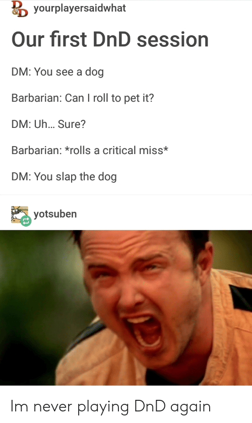 barbarian: yourplayersaidwhat  Our first DnD session  DM: You see a dog  Barbarian: Can I roll to pet it?  DM: Uh... Sure?  Barbarian: *rolls a critical miss*  DM: You slap the dog  yotsuben  Oe Im never playing DnD again