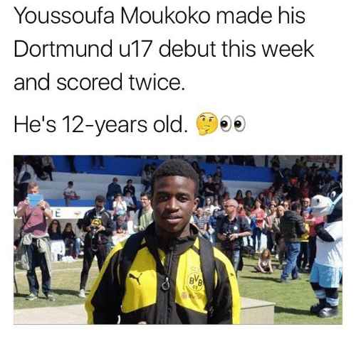 Old E: Youssoufa Moukoko made his  Dortmund u17 debut this week  and scored twice.  He's 12-years old. e  BVB  09