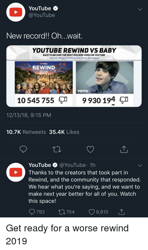 YouTube < New Record!l Ohwait YOUTUBE REWIND VS BABY RACE TO BECOME