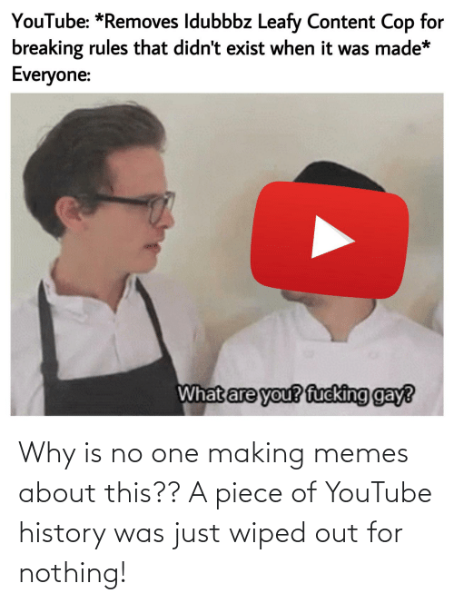 cop: YouTube: *Removes Idubbbz Leafy Content Cop for  breaking rules that didn't exist when it was made*  Everyone:  What are you? fucking gay? Why is no one making memes about this?? A piece of YouTube history was just wiped out for nothing!