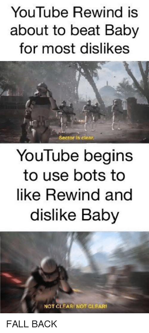 bots: YouTube Rewind is  about to beat Baby  for most dislikes  Sector is clear  YouTube begins  to use bots to  like Rewind and  dislike Baby  NOT CLEARI NOT CLEAR FALL BACK