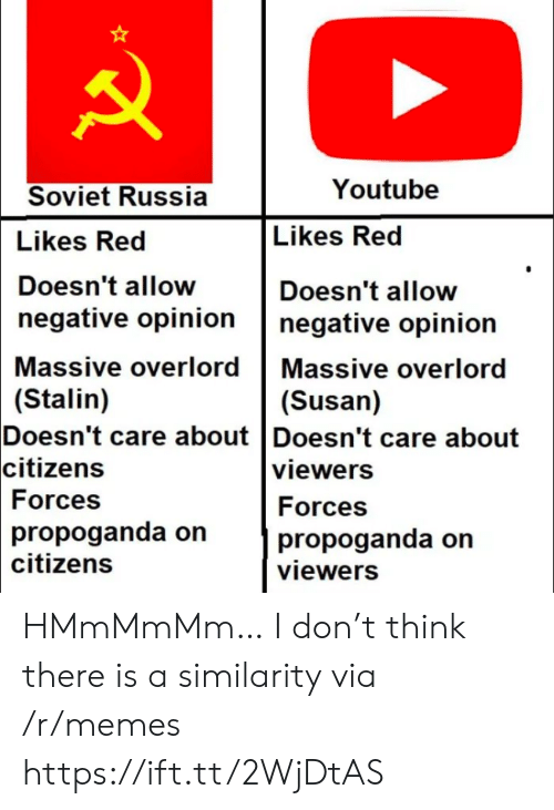 Memes, youtube.com, and Russia: Youtube  Soviet Russia  Likes Red  Likes Red  Doesn't allow  Doesn't allow  negative opinion  negative opinion  Massive overlord Massive overlord  (Stalin)  Doesn't care about Doesn't care about  citizens  (Susan)  viewers  Forces  Forces  propoganda on  citizens  propoganda on  viewers HMmMmMm… I don't think there is a similarity via /r/memes https://ift.tt/2WjDtAS