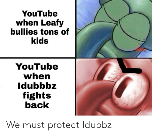 Must Protect: YouTube  when Leafy  bullies tons of  kids  YouTube  when  Idubbbz  fights  back We must protect Idubbz