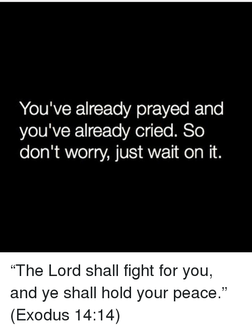 """Exodus: You've already prayed and  you've already cried. So  don't worry, just wait on it. """"The Lord shall fight for you, and ye shall hold your peace."""" (Exodus 14:14)"""