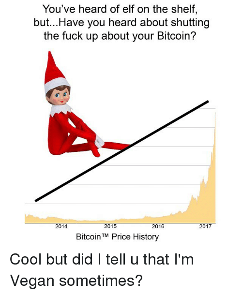 Elf, Elf on the Shelf, and Funny: You've heard of elf on the shelf,  but...Have you heard about shutting  the fuck up about your Bitcoin?  2014  2015  2016  2017  BitcoinTM Price History Cool but did I tell u that I'm Vegan sometimes?