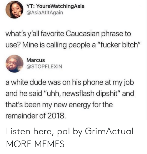 """dipshit: YT: YoureWatchingAsia  @AsiaAtltAgain  what's y'all favorite Caucasian phrase to  use? Mine is calling people a """"fucker bitch""""  Marcus  @STOPFLEXIN  a white dude was on his phone at my job  and he said """"uhh, newsflash dipshit"""" and  that's been my new energy for the  remainder of 2018 Listen here, pal by GrimActual MORE MEMES"""