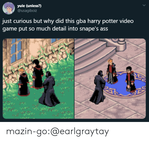 Harry Potter: yule (unless?)  @usagiboiz  just curious but why did this gba harry potter video  game put so much detail into snape's ass mazin-go:@earlgraytay