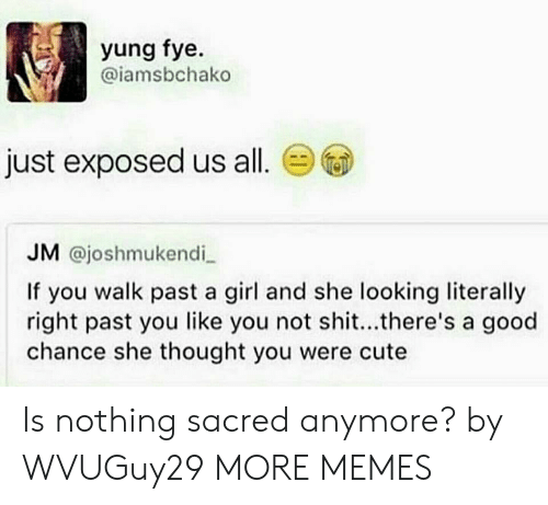 Cute, Dank, and Fye: yung fye.  @iamsbchako  just exposed us all.  JM @joshmukendi  If you walk past a girl and she looking literally  right past you like you not shit...there's a good  chance she thought you were cute Is nothing sacred anymore? by WVUGuy29 MORE MEMES