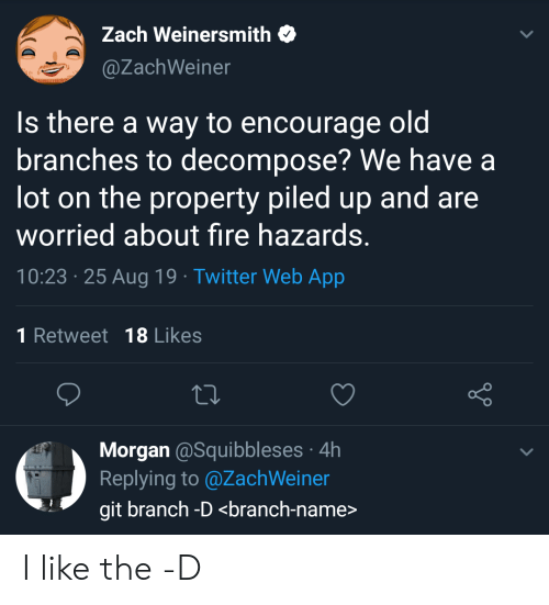 Fire, Twitter, and Git: Zach Weinersmith  @ZachWeiner  Is there a way to encourage oldi  branches to decompose? We have a  lot on the property piled up and are  worried about fire hazards.  10:23 25 Aug 19 Twitter Web App  1 Retweet 18 Likes  Morgan @Squibbleses 4h  Replying to @ZachWeiner  git branch -D <branch-name> I like the -D