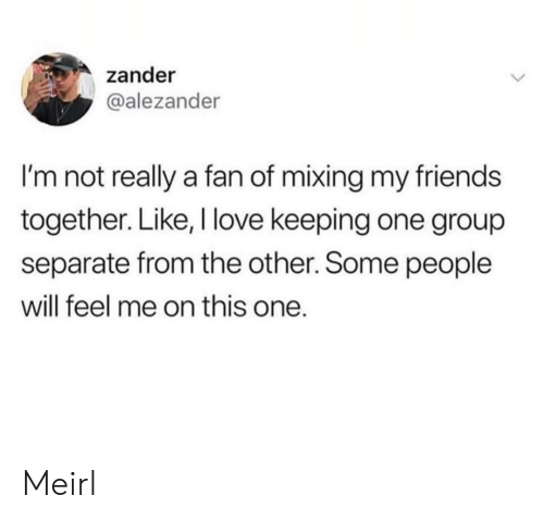 separate: zander  @alezander  I'm not really a fan of mixing my friends  together. Like, I love keeping one group  separate from the other. Some people  will feel me on this one. Meirl