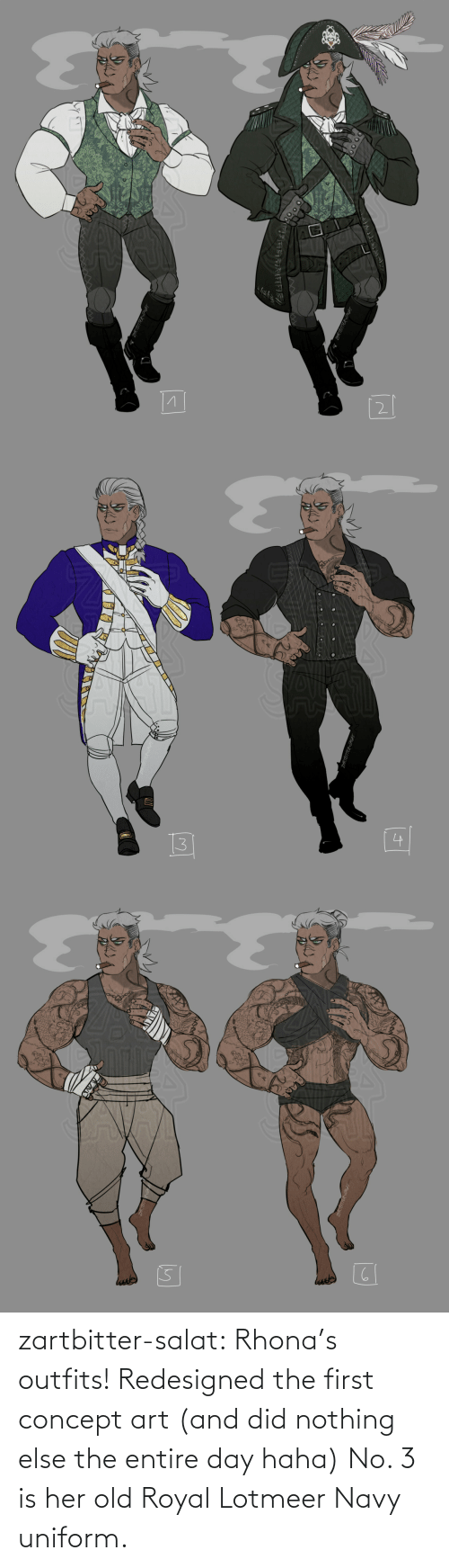 Navy: zartbitter-salat:  Rhona's outfits! Redesigned the first concept art (and did nothing else  the entire day haha) No. 3 is her old Royal Lotmeer Navy uniform.