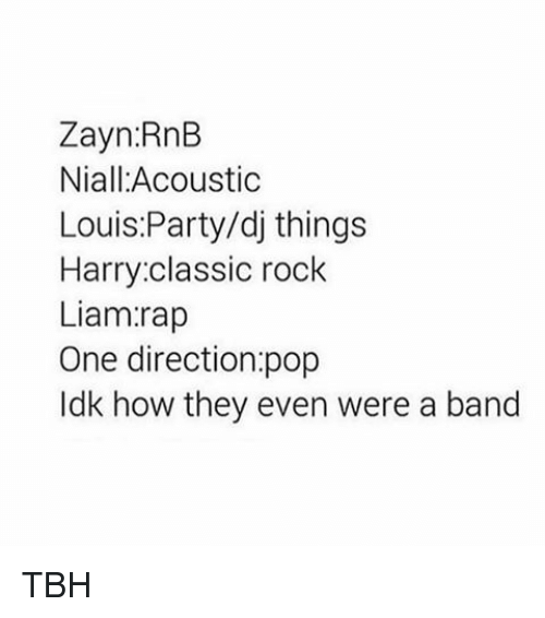 Memes, One Direction, and Party: Zayn RnB  Niall: Acoustic  Louis Party/dj things  Harry classic rock  Liam rap  One direction pop  ldk how they even were a band TBH
