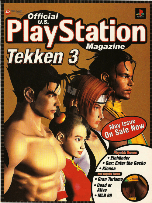 MLB: ZD ZIFF DAVIS  a SOFTBANK  company  Official  U.S.  PlayStation  Tekken 3  PlayStation  Magazine  May Issue  On Sale Now  Playable Demos  Einhänder  Gex: Enter the Gecko  Klonoa  Non-playable Demos  Gran Turismo  Dead or  Alive  MLB 99