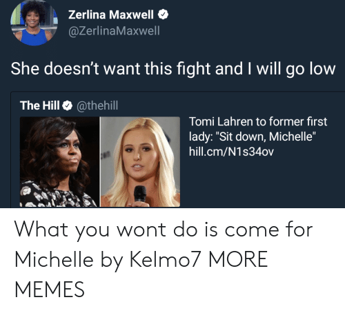 """Dank, Memes, and Target: Zerlina Maxwell  @ZerlinaMaxwell  She doesn't want this fight and I will go low  The Hill @thehill  Tomi Lahren to former first  lady: """"Sit down, Michelle""""  hill.cm/N1s34ov What you wont do is come for Michelle by Kelmo7 MORE MEMES"""