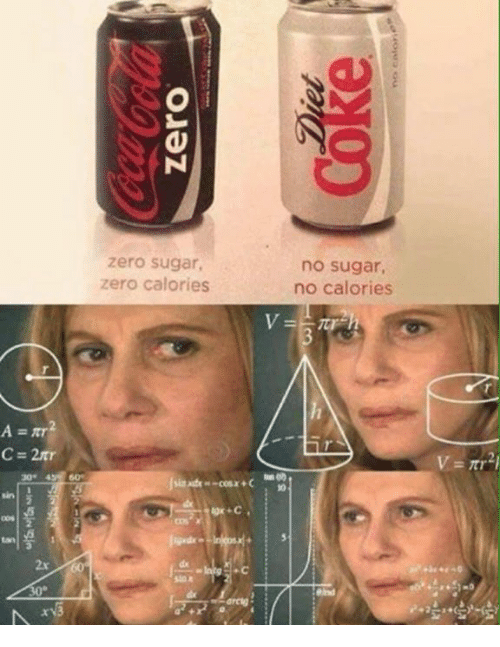 Zero, Sugar, and Cos: zero sugar,  zero calories  no sugar  no calories  C- 2tr  30% 43 60  4 60  OOS  cos x  2x