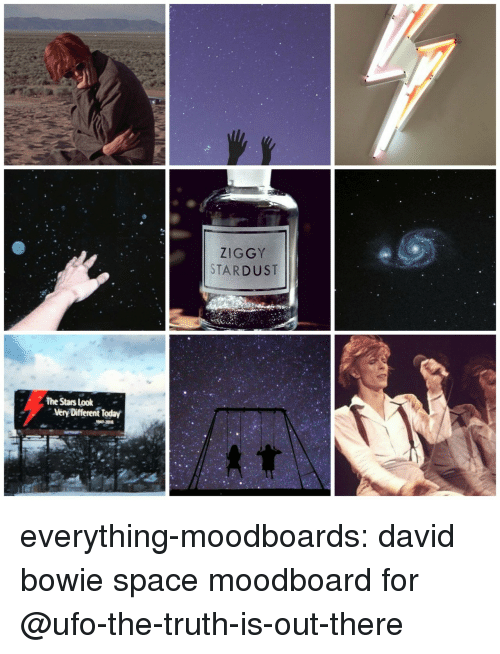 David Bowie: ZIGGY  STARDUST  The Stars Look  very Different Today everything-moodboards:  david bowie space moodboard for @ufo-the-truth-is-out-there