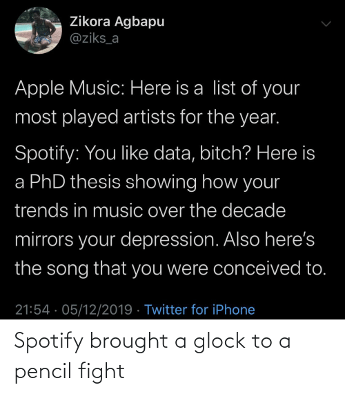 Here Is: Zikora Agbapu  @ziks_a  Apple Music: Here is a list of your  most played artists for the year.  Spotify: You like data, bitch? Here is  a PhD thesis showing how your  trends in music over the decade  mirrors your depression. Also here's  the song that you were conceived to.  21:54 · 05/12/2019 · Twitter for iPhone Spotify brought a glock to a pencil fight