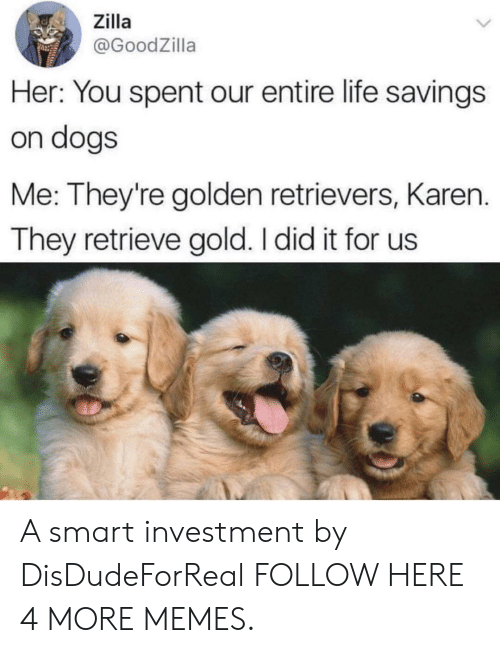 Smartly: Zilla  @GoodZilla  Her: You spent our entire life savings  on dogs  Me: They're golden retrievers, Karen.  They retrieve gold. I did it for us A smart investment by DisDudeForReal FOLLOW HERE 4 MORE MEMES.