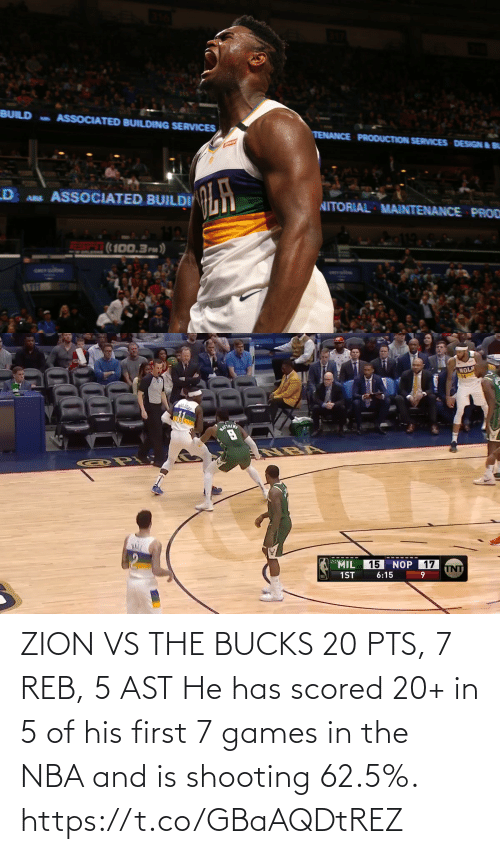 Games: ZION VS THE BUCKS 20 PTS, 7 REB, 5 AST  He has scored 20+ in 5 of his first 7 games in the NBA and is shooting 62.5%.  https://t.co/GBaAQDtREZ
