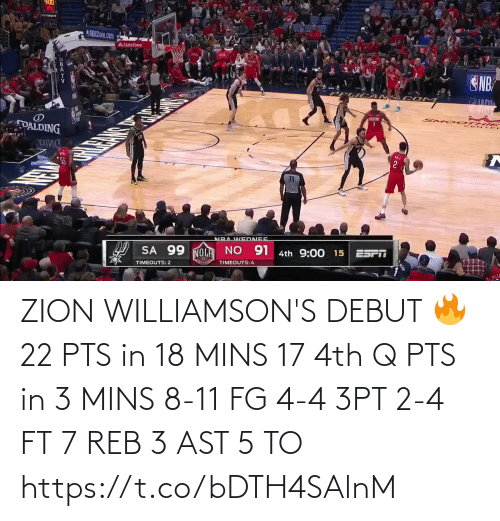 Mins: ZION WILLIAMSON'S DEBUT 🔥  22 PTS in 18 MINS 17 4th Q PTS in 3 MINS 8-11 FG 4-4 3PT 2-4 FT 7 REB 3 AST  5 TO  https://t.co/bDTH4SAlnM
