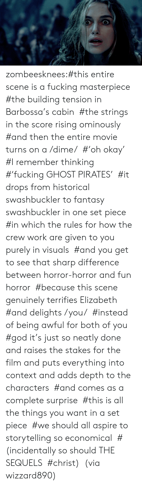 Fucking, God, and Tumblr: zombeesknees:#this entire scene is a fucking masterpiece  #the building tension in Barbossa's cabin  #the strings in the score rising ominously  #and then the entire movie turns on a /dime/  #'oh okay'  #I remember thinking  #'fucking GHOST PIRATES'  #it drops from historical swashbuckler to fantasy swashbuckler in one set piece  #in which the rules for how the crew work are given to you purely in visuals  #and you get to see that sharp difference between horror-horror and fun horror  #because this scene genuinely terrifies Elizabeth  #and delights /you/  #instead of being awful for both of you  #god  it's just so neatly done and raises the stakes for the film and puts  everything into context and adds depth to the characters  #and comes as a complete surprise  #this is all the things you want in a set piece  #we should all aspire to storytelling so economical  #(incidentally so should THE SEQUELS  #christ)  (via wizzard890)
