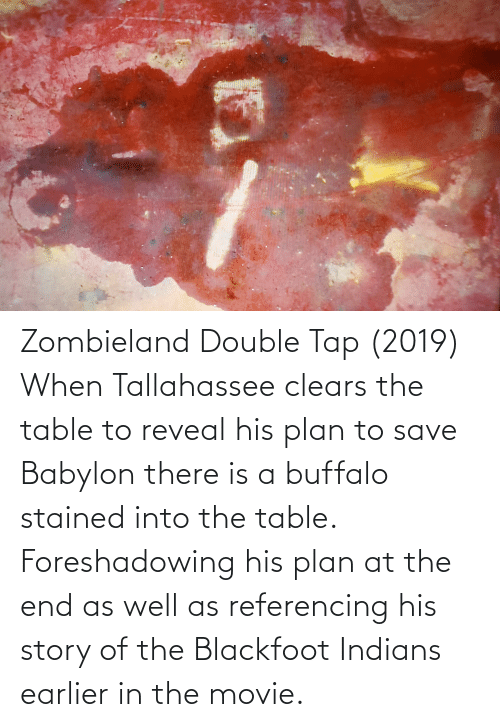Buffalo: Zombieland Double Tap (2019) When Tallahassee clears the table to reveal his plan to save Babylon there is a buffalo stained into the table. Foreshadowing his plan at the end as well as referencing his story of the Blackfoot Indians earlier in the movie.