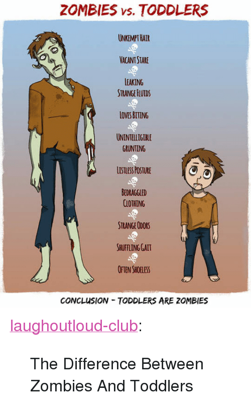"""shuffling: ZOMBIES vs. TODDLERS  UNKEMPT HATR  VACANT STARE  LEAKING  STRANGE HLUIDS  LOVES BITING  UNINTELLIGIBLE  GRUNTING  LISTLESS POSTURE  BEDRAGGLED  CLOTHING  STRANGE ODORS  SHUFFLING GALT  OFTEN SHOELESS  CONCLUSION TODDLERS ARE ZOMBIES <p><a href=""""http://laughoutloud-club.tumblr.com/post/166925884441/the-difference-between-zombies-and-toddlers"""" class=""""tumblr_blog"""">laughoutloud-club</a>:</p>  <blockquote><p>The Difference Between Zombies And Toddlers</p></blockquote>"""