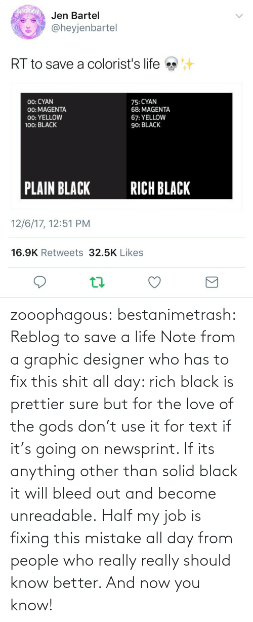 Fixing: zooophagous:  bestanimetrash: Reblog to save a life  Note from a graphic designer who has to fix this shit all day: rich black is prettier sure but for the love of the gods don't use it for text if it's going on newsprint. If its anything other than solid black it will bleed out and become unreadable. Half my job is fixing this mistake all day from people who really really should know better. And now you know!