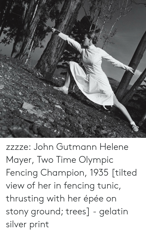 gelatin: zzzze:  John Gutmann Helene Mayer, Two Time Olympic Fencing Champion, 1935 [tilted view of her in fencing tunic, thrusting with her épée on stony ground; trees] - gelatin silver print
